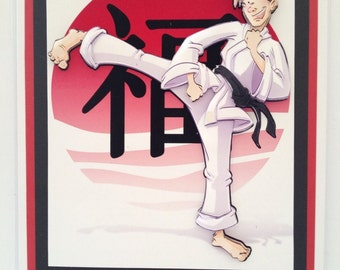 Handmade Decoupaged Karate Suit Birthday Card