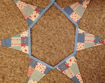 Blue Patchwork Bunting