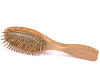 Natural Green Sandalwood Cushion Hair Brush, Wooden Bristle Massage Hair Brush