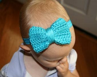 Large Crochet Bow Headband, Photo prop, birthday prop, newborn