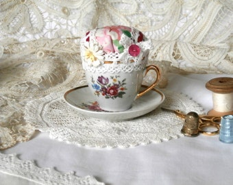 Vintage Teacup and Saucer Pincushion - Pink