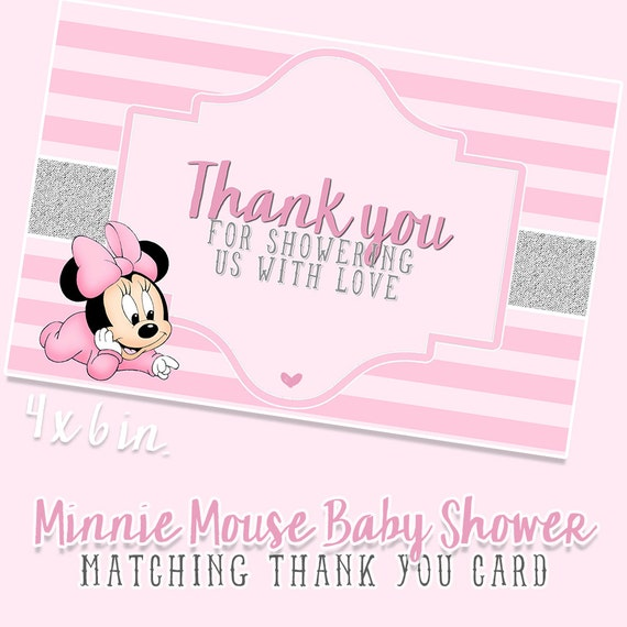 baby minnie mouse baby shower thank you cards matching pdf jpeg