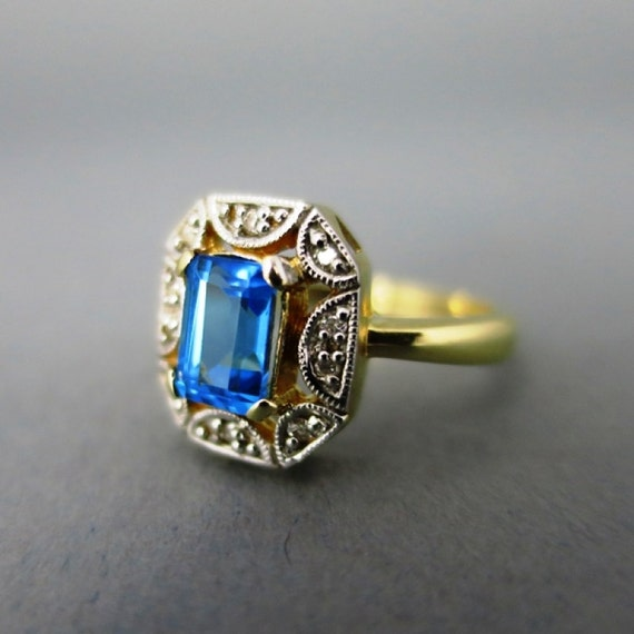 antique gold blue topaz diamonds ring by oldendaystreasures