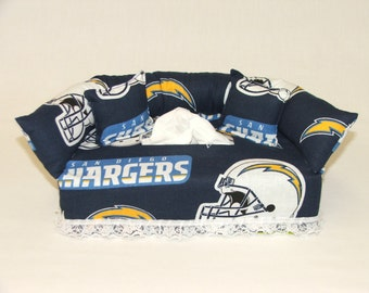 San Diego Chargers NFL Licensed fabric tissue box cover.