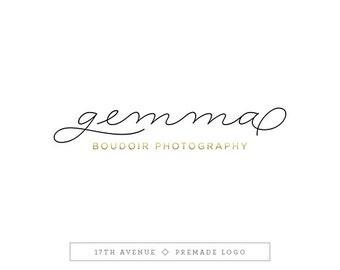 """Premade Logo Design - Black White Gold Logo - Photography Logo - Boutique Logo - Small Business Logo - """"Gemma"""" Deluxe"""