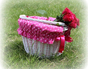 Bike bicycle BASKET LINER - PINK fuchsia polka dot