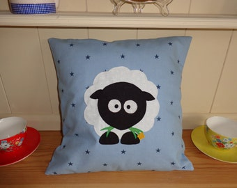 Sheep Cushion - blue