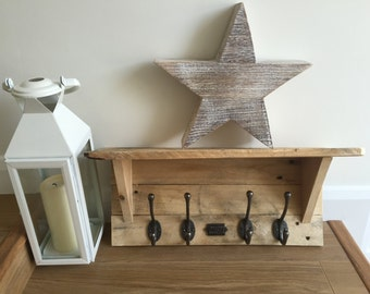 Bespoke Pallet shelf with hooks and made in Britain plaque