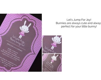 Kids Birthday Invitations, Girls Bunny Party Invitations, Ballet Themed Invitations, Instant Download or Printed Just For You
