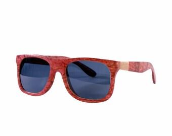 Handmade wood sunglasses from solid wood, Made from 100% Karelian birch