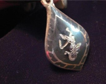SIAM Sterling Silver Charm > vintage 1940's > with Design and Mekkala, Goddess of Lightning