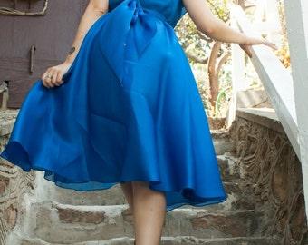 1970's true vintage dress, royal blue flowing Halston gown