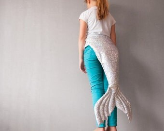 Mermaid Tail, White Silber Shiny Fish Skin Tail, Photography Prop, Photo Prop