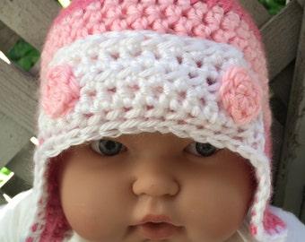 Baby Aviator Pink Stripe Crochet Beanie (3-6m*)