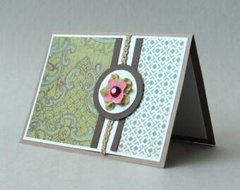 Flower Greeting Card, Blank Handmade Card, Paper Handmade Greeting Card, Green & Brown