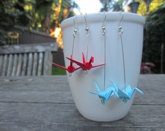 Origami Crane Earrings - any colour