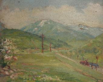 Vintage oil painting landscape impressionism