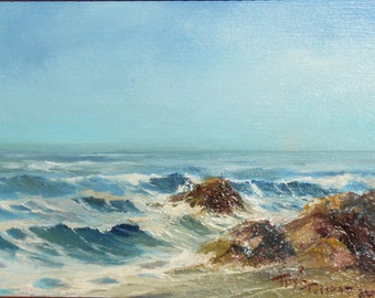Contemporary oil painting seascape rocks signed