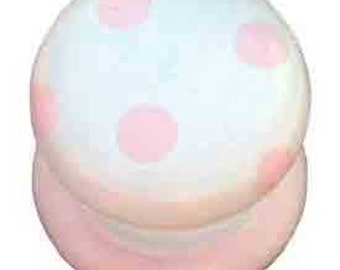 Cream and Pink Polka Dotted Knob (Pack of 6)