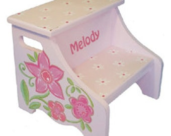 Pink Flower Step Stool