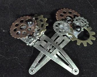 Steam Punk gear hair clips