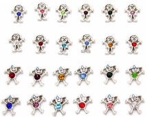 Birthstone Boy or Girl Month Stone Floating Charm fits Living Memory Floating Origami Locket Necklace Jewelry Stick Figure