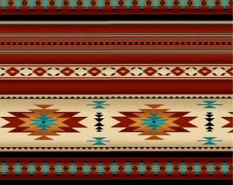 Patchwork quilt fabric curtain fabric cotton with geometric Indian pattern in earth tones, Terra cotta red and turquoise