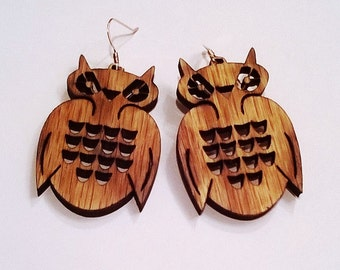 Wood Owl Earrings