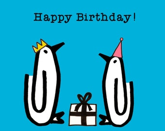 Happy Birthday! Penguins, Presents, Birthday card
