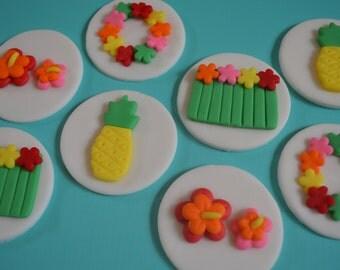 12 Hawaiian Cupcake Toppers-Fondant