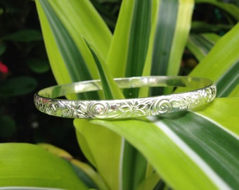 5.9mm Sterling Silver Traditional Hawaiian Bracelet