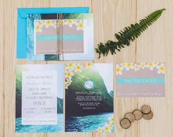 SAMPLE Tropical Beach Wedding Invitation Set with RSVP, Envelope and String. – UK