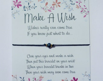 Wish Bracelet - Lapis Lazuli / Gemstone Wish Bracelet / Birthstone Jewellery / Healing Gift / Chakra Bracelet / Blue Stone /  Wish Knots