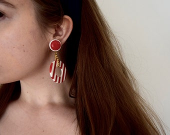 Vintage Red and White Stripes Earrings
