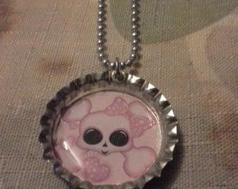 Pink girly skull bottlecap necklace