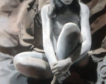 Sitting Female Original Painting - Sale
