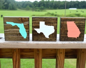 Wooden State Coasters, 3.5x3.5, set of 4, Mix and match states or countries