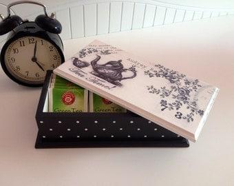 Tea box black and white...Tea storage...Tea organizer