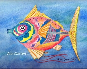 FAR OUT FISH, abstract print, fish, sea, undersea, wall art