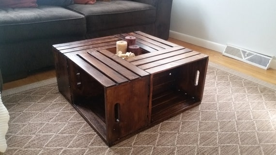 Wine crate coffee table by awoodenanchor on etsy for Crate style coffee table