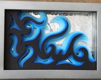 3 dimensional paper sculpture blue waves