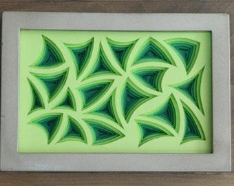 3 Dimensional Paper Sculpture Arcs Green