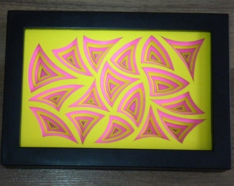 3 Dimensional Paper Sculpture Arcs Pink and Yellow