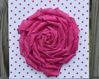 Flower Wall Art: Polka Dot Fabric, Burlap Flower