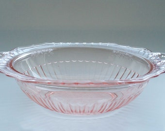 "Lovely, Hocking Glass Co., Pink ""Mayfair Open Rose"" 2 Handled Bowl"
