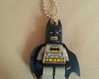 Batman Necklace - (LEGO® Minifigure) - Bruce Wayne, Dark Knight, Batman, Caped Crusader, Superhero