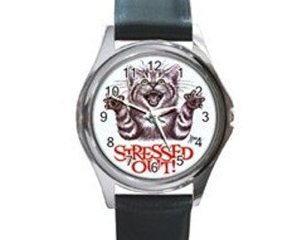 Stressed Out kitty  Round Metal Watch