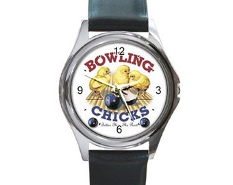 Bowling Chicks  Round Metal funny Watch