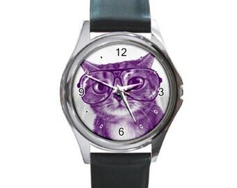 Witty Kitty  Round Metal Watch