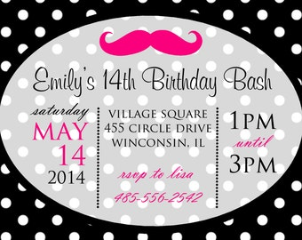 Pink Stache Bash Girls Tweens Birthday Party Invitation Digital Download File